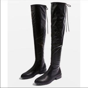 NWT Topshop Dollar High Leg Black Pull On Boots